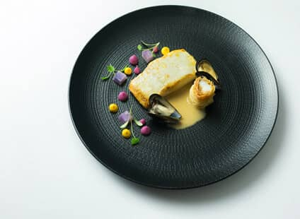 Roast Halibut, Mussel Volte, Violet Potatoes