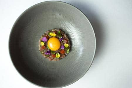 Tuna Tartar, Confit Egg Yolk, Bloody Mary Jelly