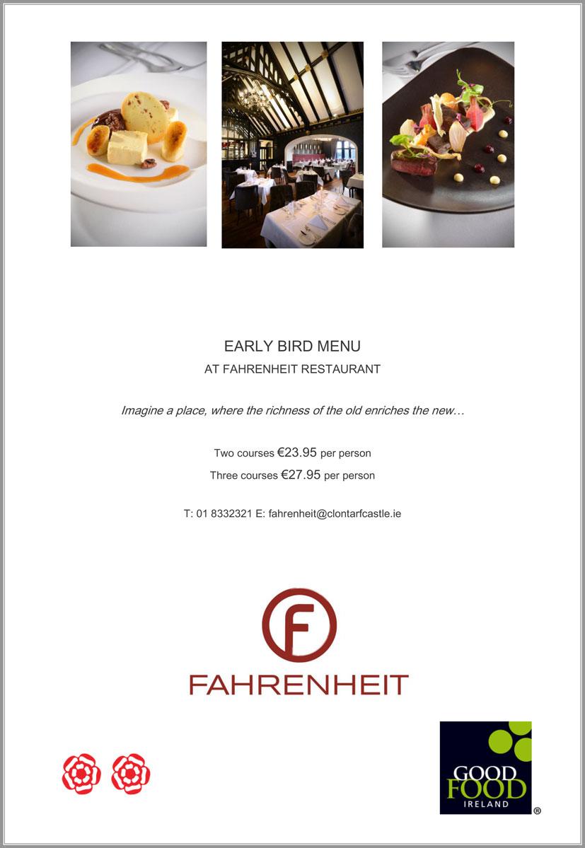 Fahrenheit Restaurant Clontarf Menu